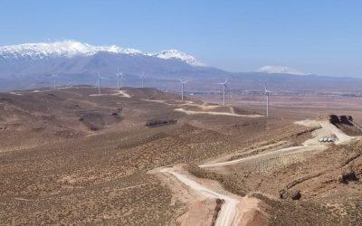 Assembling the 50 turbines for the Midelt wind farm.
